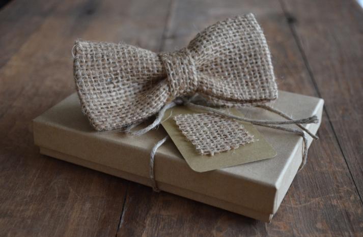 Burlap Bow Tie for Rustic Weddings