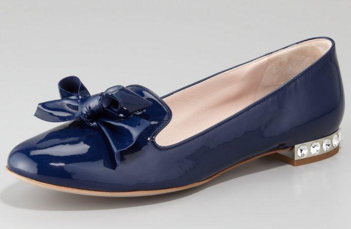 Navy Blue Wedding Shoes Miu Miu Flats