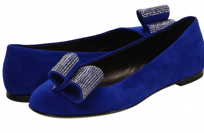 Blue Suede Wedding Shoes with Crystal Bows