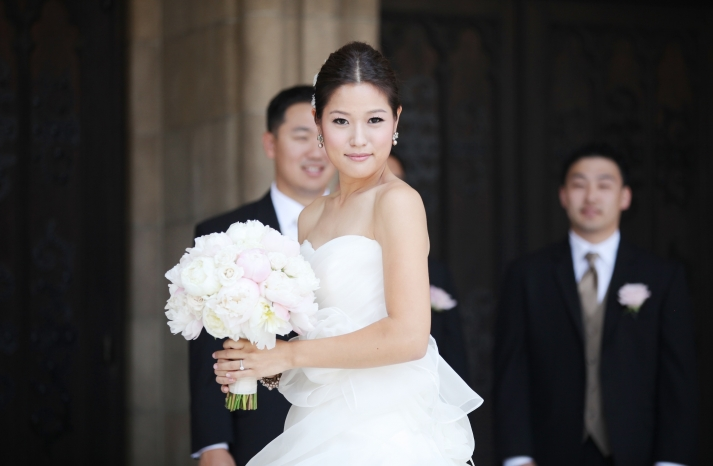 Classic Bride with Light Pink Peony Bouquet