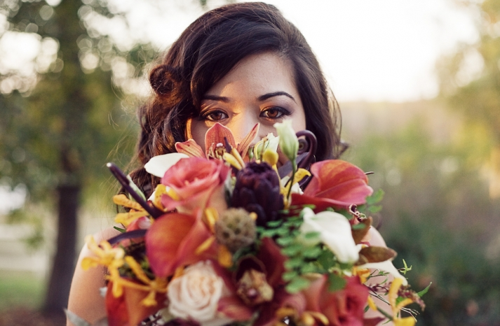 Rustic Fall Bridal Bouquet for Outdoor Wedding