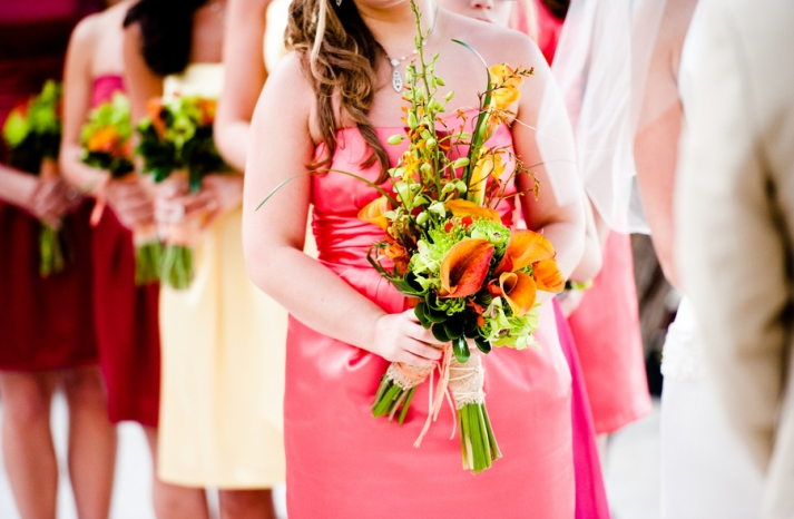 Tropical Bridesmaid Bouquet Orange and green