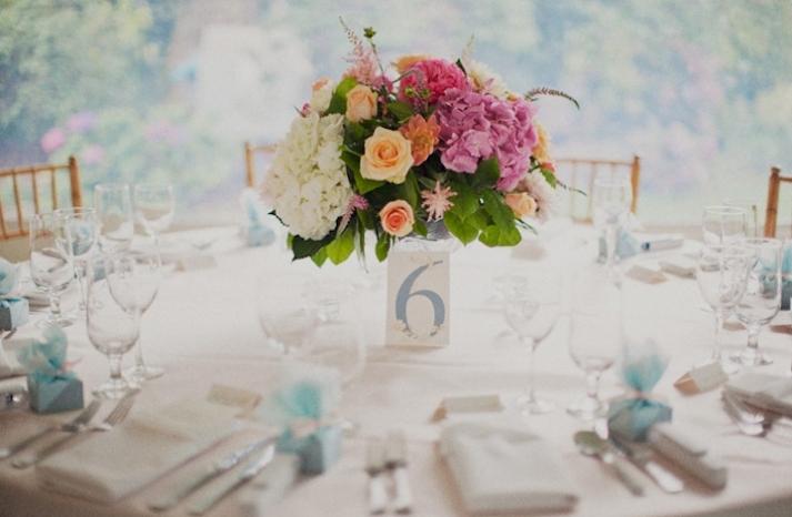 Destination Wedding Romantic Centerpieces with Roses Hydrangeas
