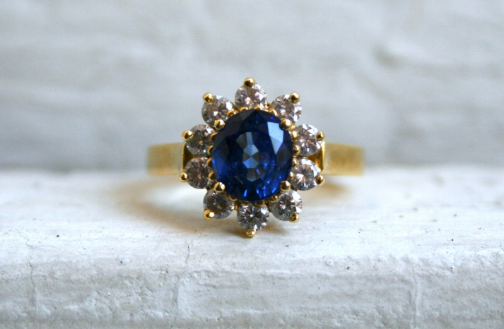Starburst Engagement Ring with Sapphire Center Stone