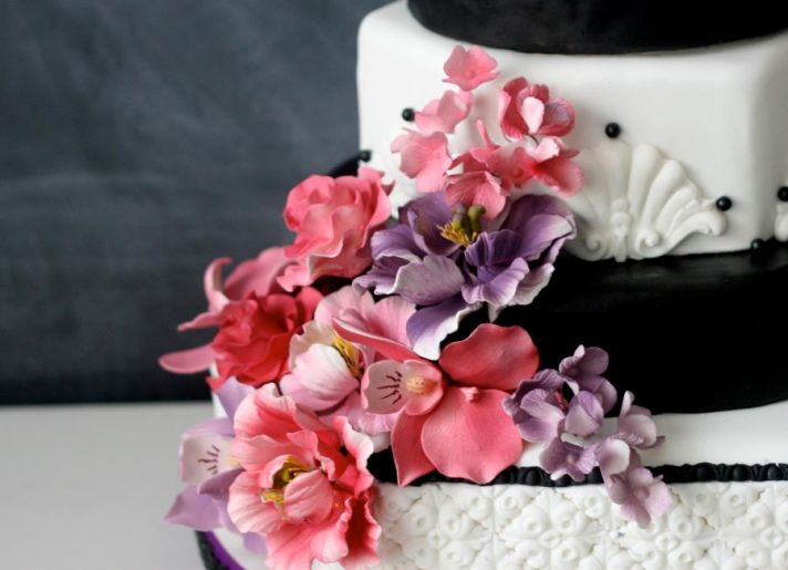 Black and White Wedding Cake with Pink Purple Sugar Blooms