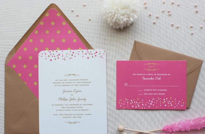 Modern Confetti Wedding Invitation Suite
