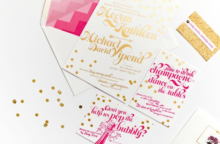 Gorgeous Wedding Invitations Pink Gold Confetti