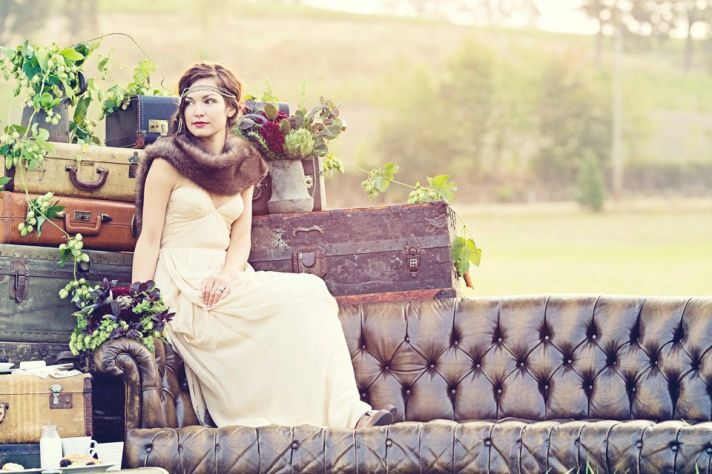 Outdoor Vintage Wedding Portrait Great Gatsby Bride