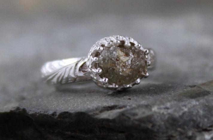 Unique Engagement Rings Rough Cut Diamond