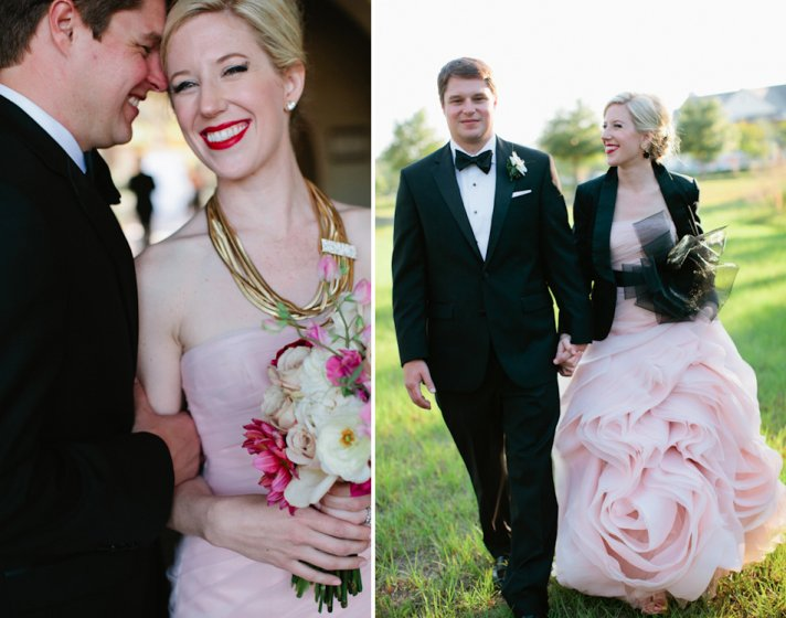 Winter Wedding Ideas Black Bridal Shrug Pink Gown