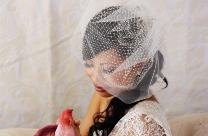 Classic Bridal Veil Birdcage Hair Accessory 3