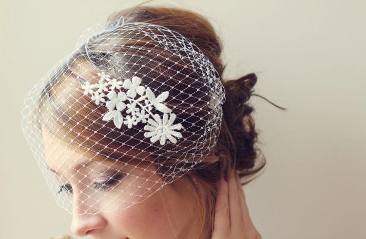 Lace Adorned Birdcage Bridal Veil