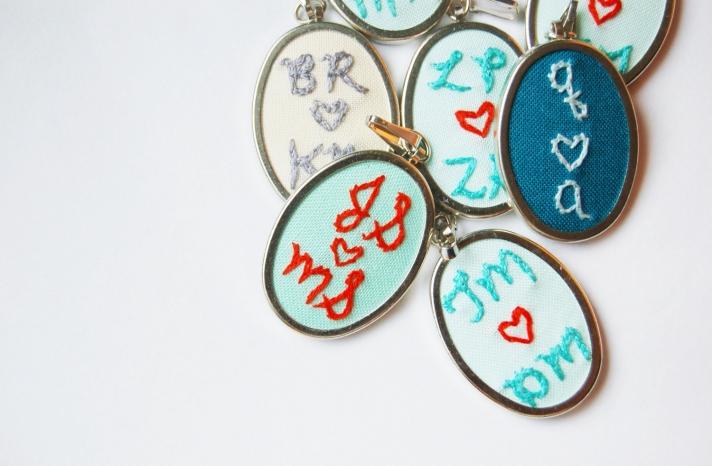 Custom Embroidered bridesmaid pendants