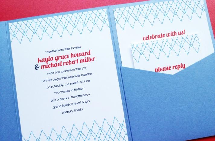 Modern Wedding Invitation Stitched Design