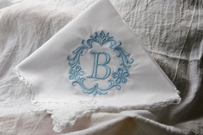 Monogrammed Bridal Hankie for Something Blue