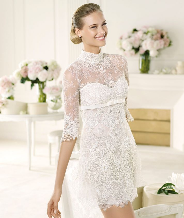 Sheer Lace Sleeves on Manuel Mota LWD