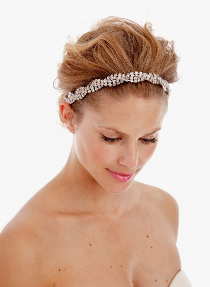Swirl Bridal Headband with 4 rows of crystals