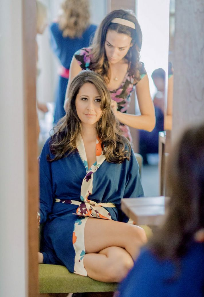 Bride Gets Ready Wearing Luxe Eco Friendly Robe