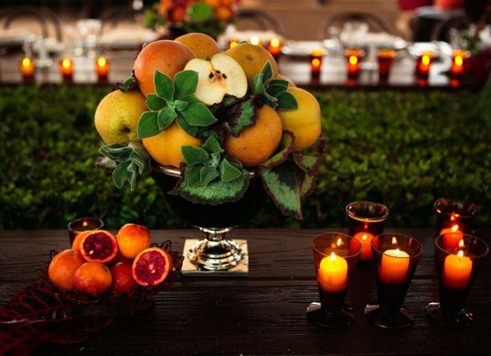 Unique Wedding Centerpiece Made with Fruit