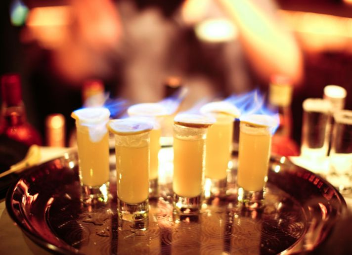 Wedding Reception Cocktails Flaming Shots