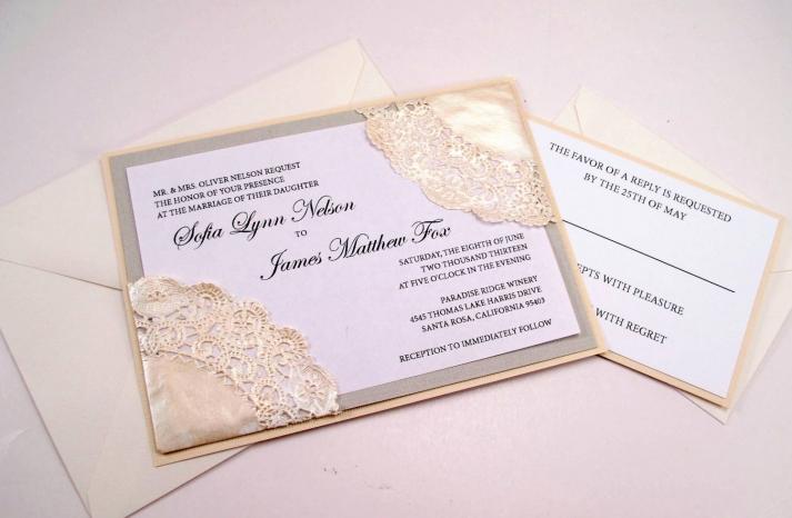 Lace Doily Wedding Invitation