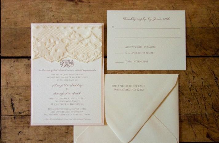 Elegant Lace Adorned Wedding Invitation