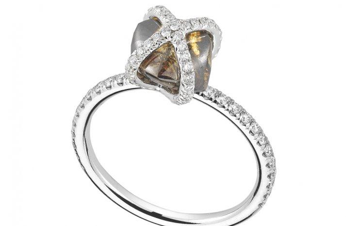 Rough Diamond Engagement Ring Amber Stone