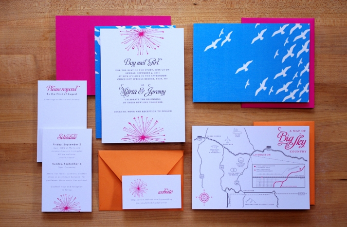 Whimsical Wedding Invitations Pink Orange Blue