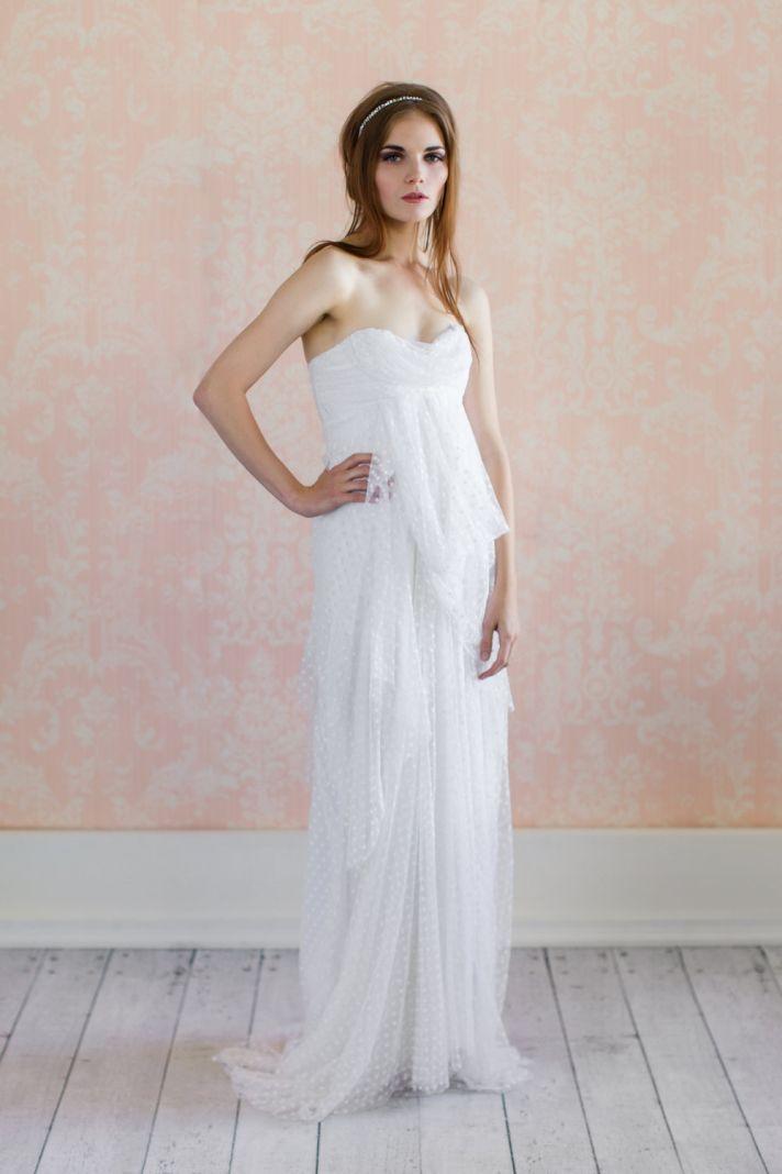 Swiss Dot Wedding Dress Sweetheart Neckline