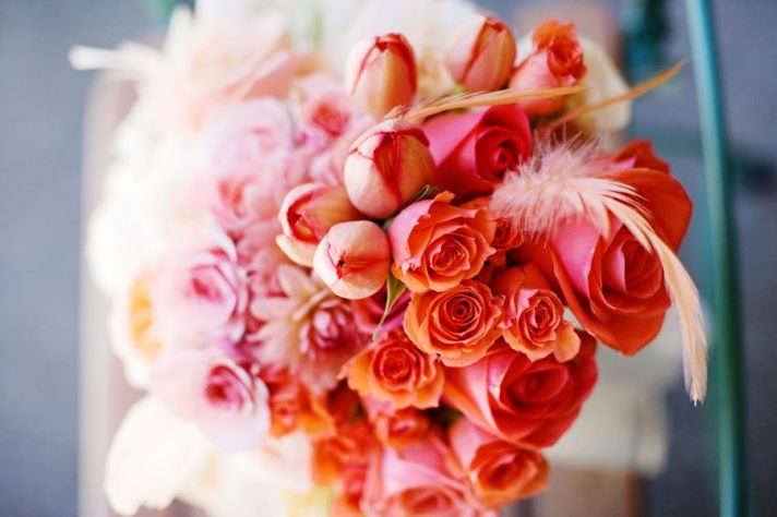 Coral Peach Ombre Bridal Bouquet with Feathers