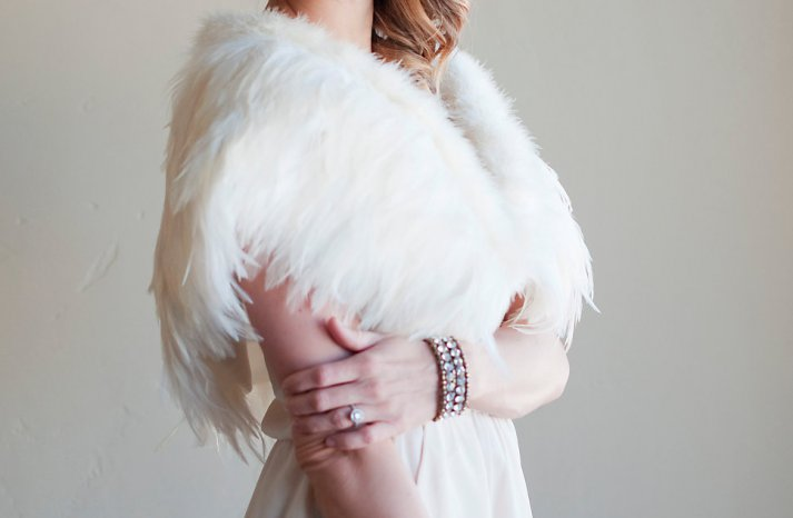 Feather Wedding Finds Great Gatsby Vintage Theme Shrug