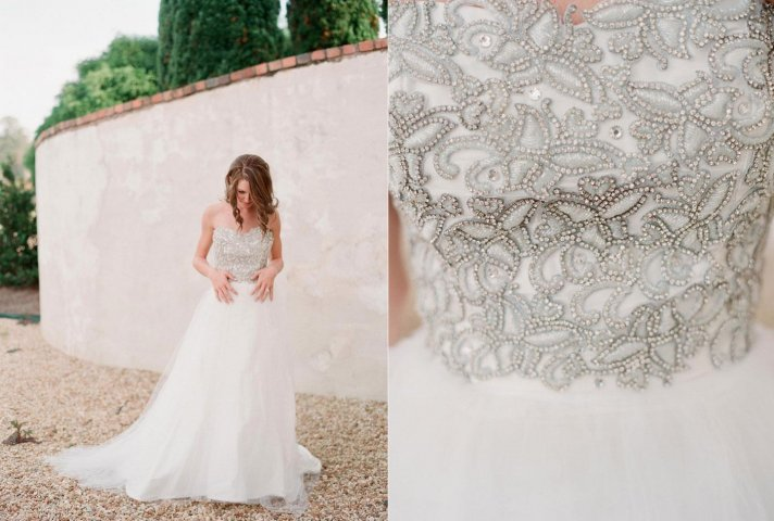 Unique Wedding Ball Gown with Silver Embroidered Corset