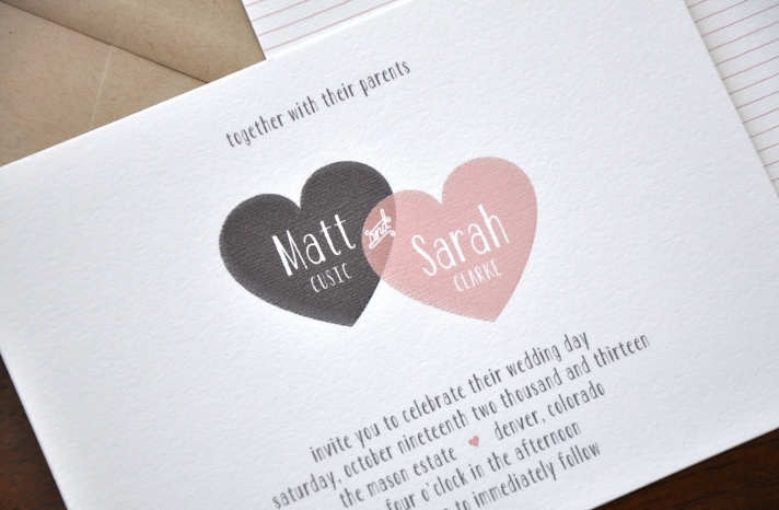 Modern Heart Wedding Invitation