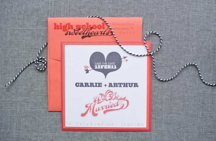 Love themed wedding invitations gray coral white