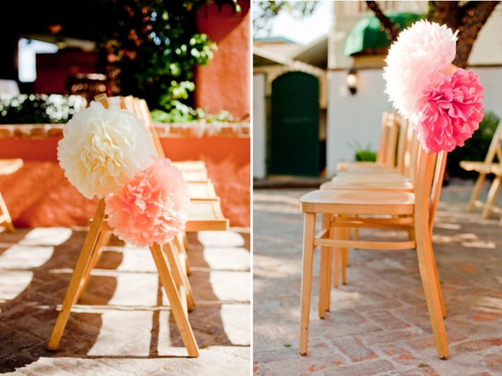 Whimsical Wedding Reception Decor Tissue Poms
