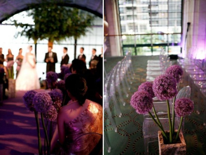 Potted Plants Purple lining wedding ceremony aisle
