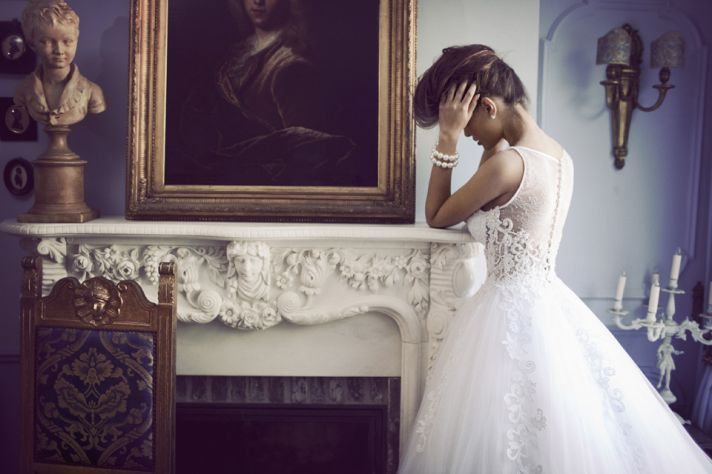 Illusion Back Wedding Dress with Tulle Lace Ballgown Skirt