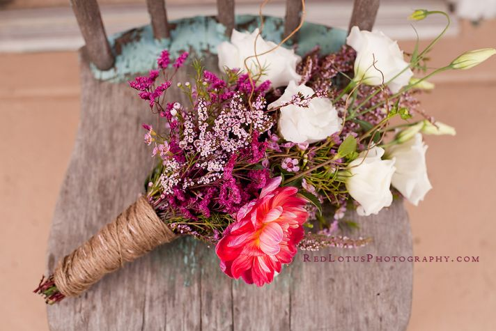 wildflower wedding bouquet with twine touches