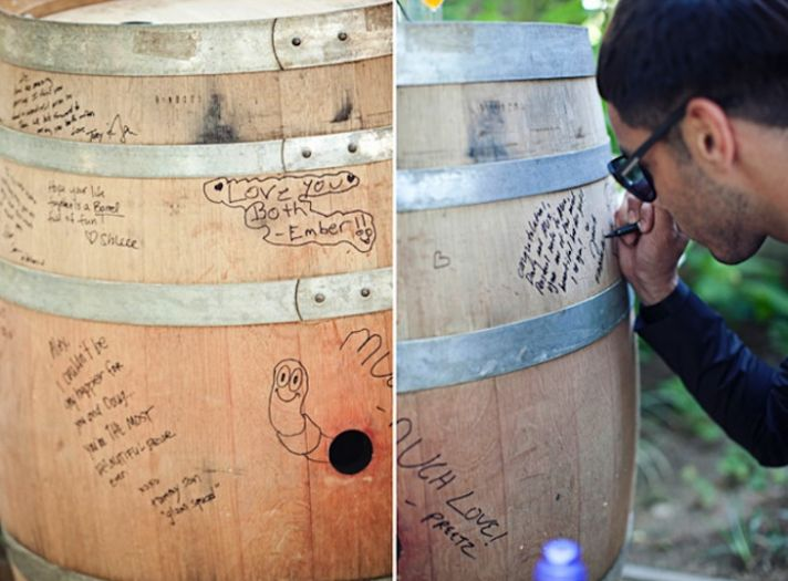Unique Wedding Guest Book Wine Barrel