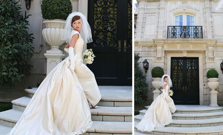 1950s Inspired Bride wears ivory gown and waterfall veil