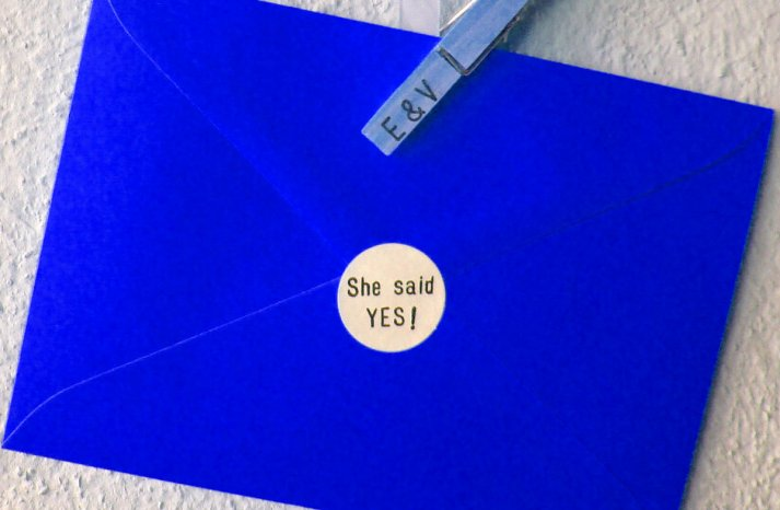 She Said Yes Stickers for Engagement Announcement Envelopes