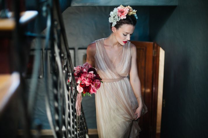 Vintage Bride wears v neck nude wedding dress floral crown
