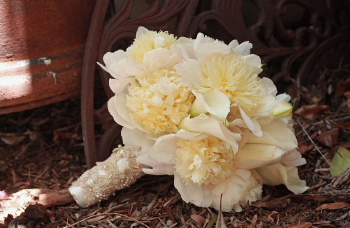 White Peony Wedding Bouquet with Antique Lace Wrapped Stem