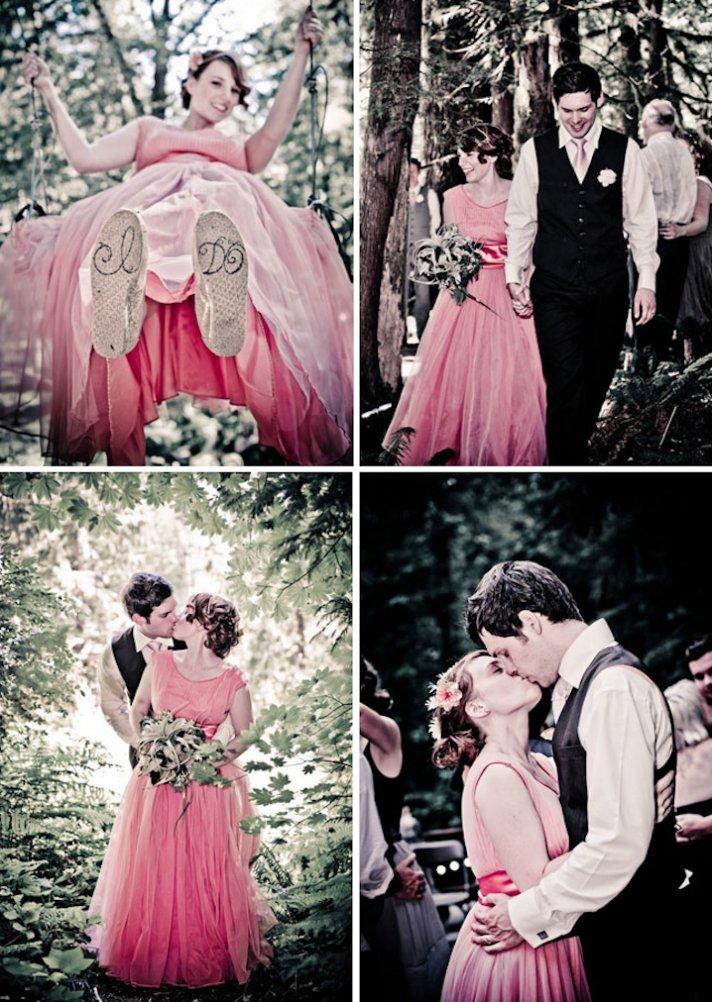 outdoor wedding bride wears pink