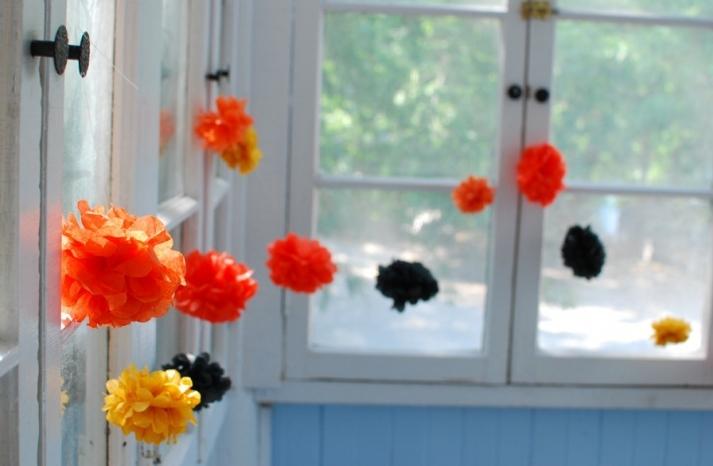 Tissue Paper Poms DIY Wedding Decor