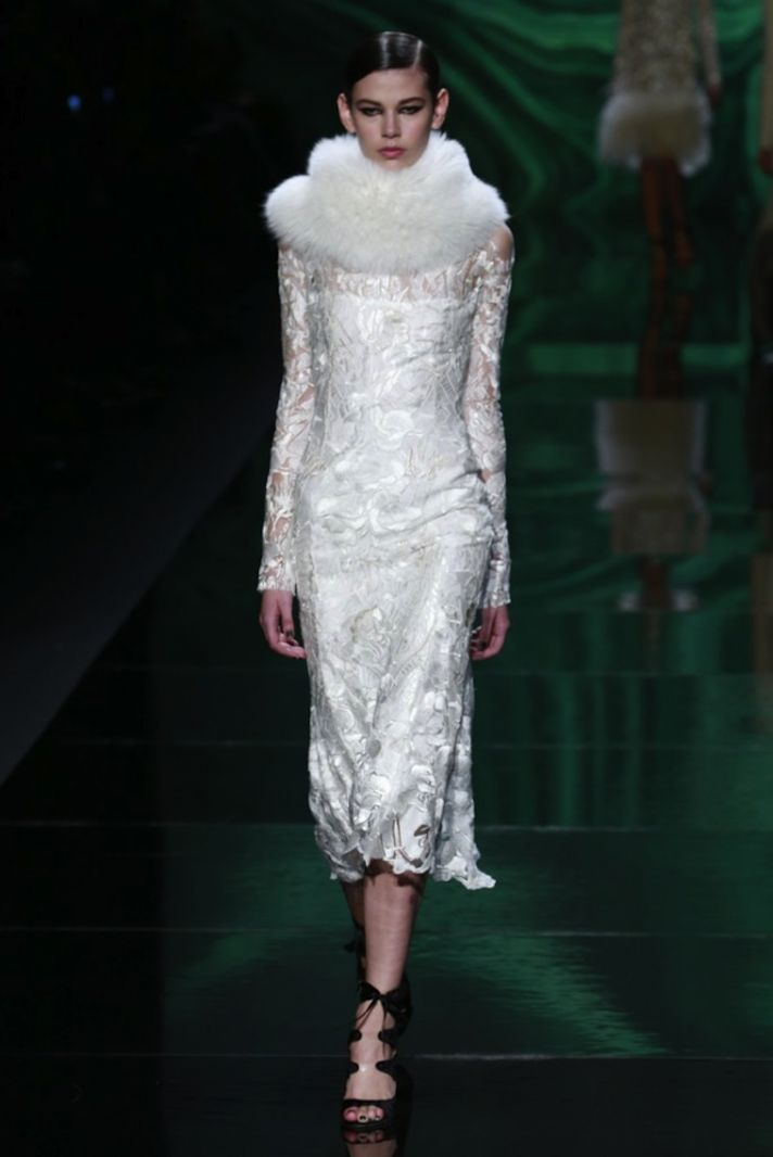 white sleeved bridal gown by monique lhuillier