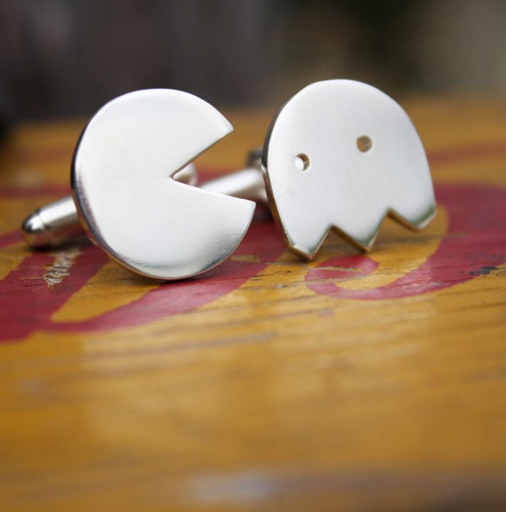 Silver Pacman Cufflinks for Grooms