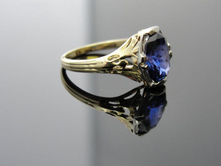 Art Nouveau Blue Sapphire Engagement Ring