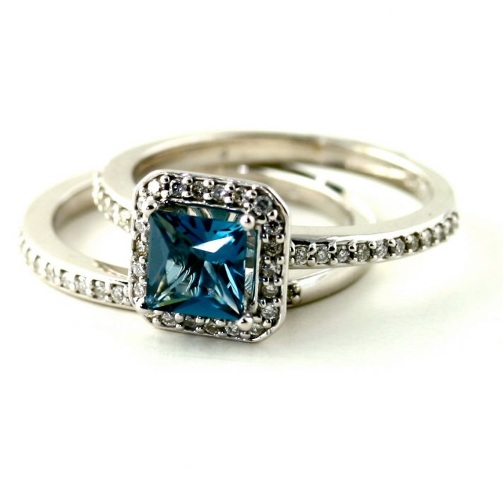 blue topaz cushion cut engagement ring - Non Diamond Wedding Rings