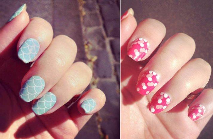 Unique wedding nail art light pink blue romantic